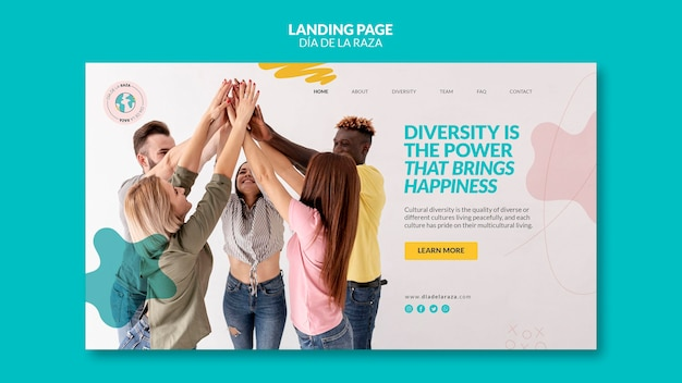 Friends of diverse ethnicity landing page