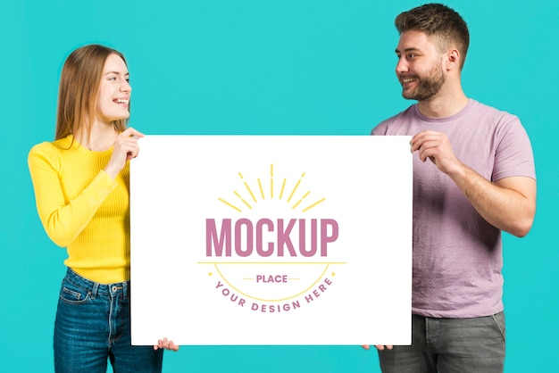 Friends holding astationery mock-up card