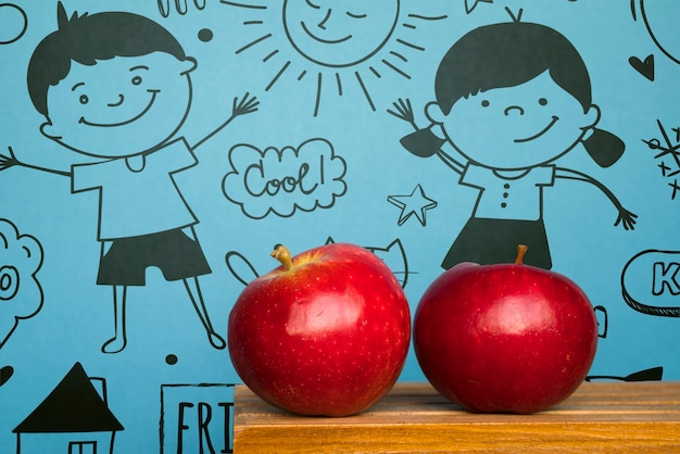Friendship day celebration with red apples