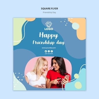 Friendship day square flyer template