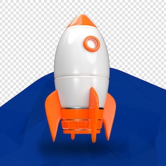 Front 3d orange rocket for composition isolated