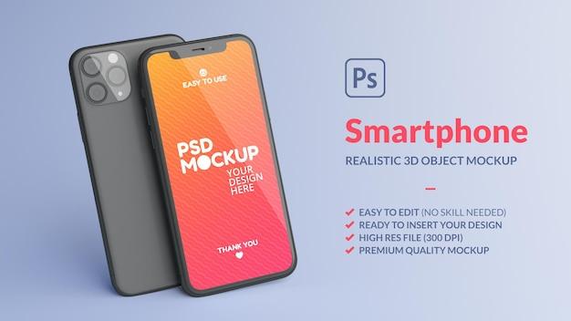 Макет мобильного телефона спереди и сзади в 3d-рендеринге