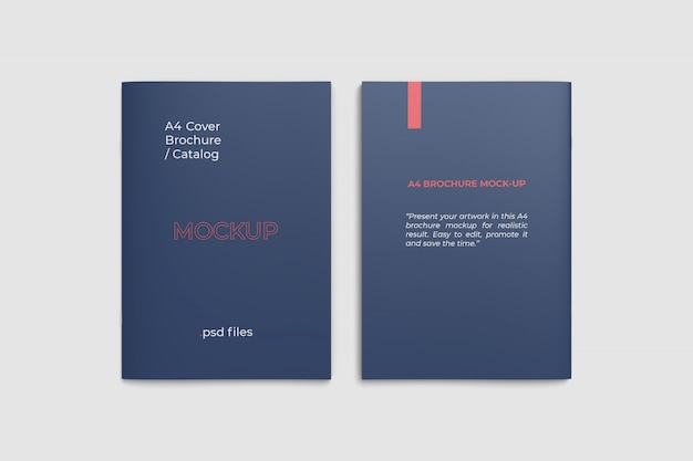 Front and back a4 brochure cover mockup top angle view
