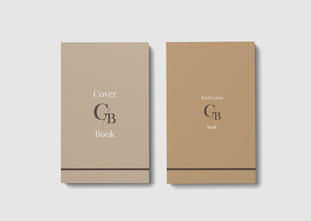 Front and back book cover mockup
