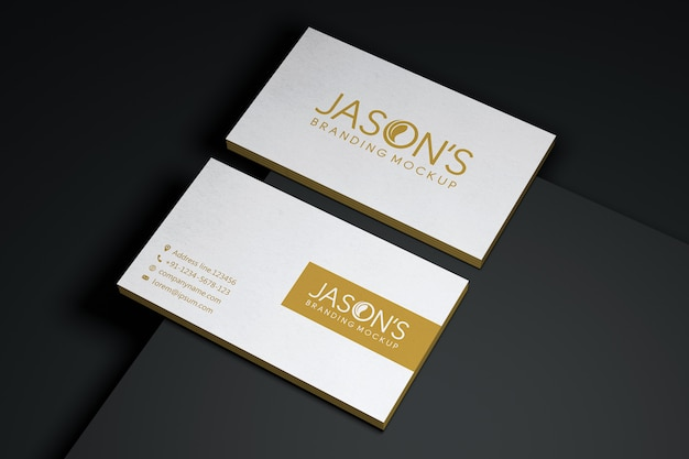 Front and back business card mockup with logos