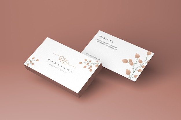 Front and back business card mockup