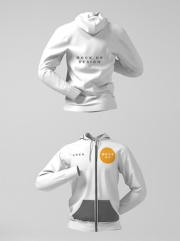 Front and back hoodie jacket mockup