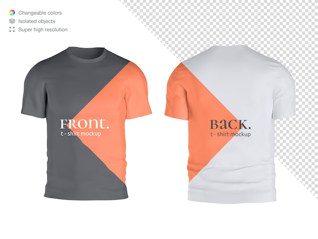 Front and back t-shirt mockup isolated