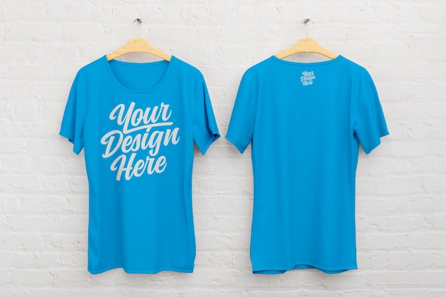Front and back t shirt mockup on a white brick background