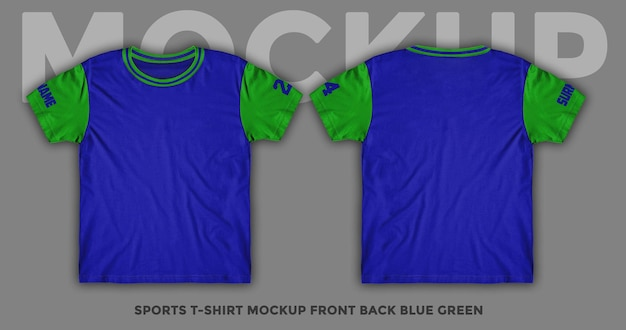Front and back view blue t-shirt mockup