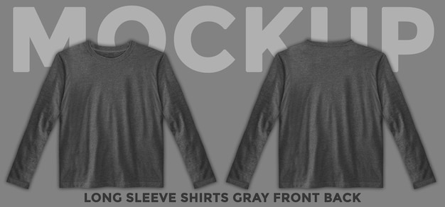 Front and back view gray long sleeves mockup