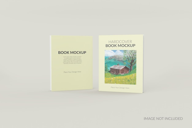 Front and back view of hardcover book standing mockup