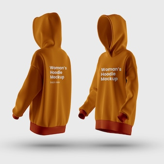 Front and back view of premium customizable woman hoodie mockup