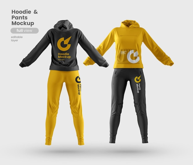 Front and back view of premium customizable woman hoodie and pants mockup