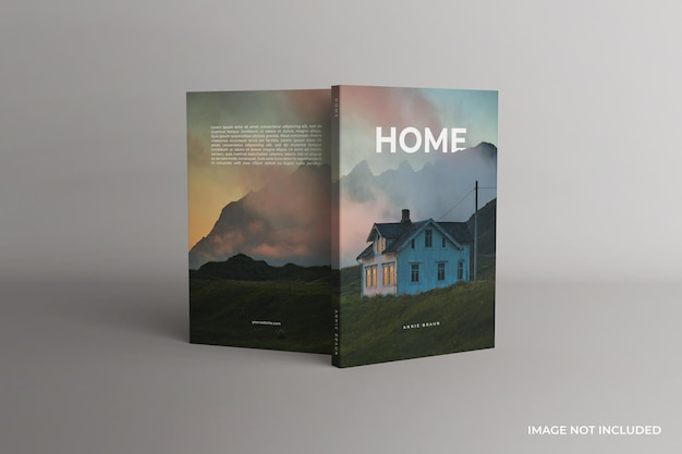 Front and back views of the standing softcover book mockup