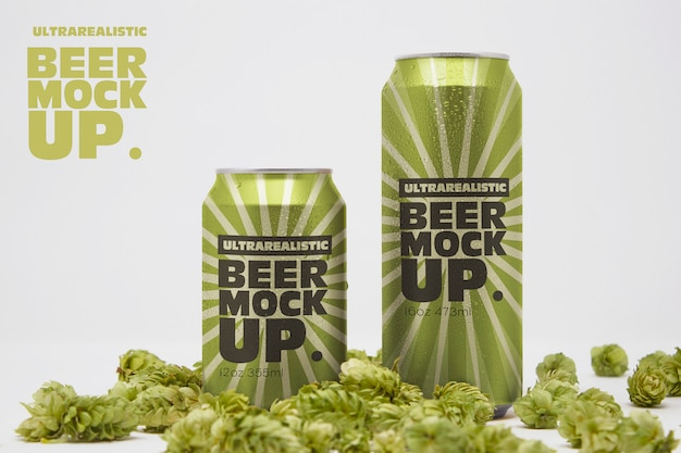 Front beer can duo mockup