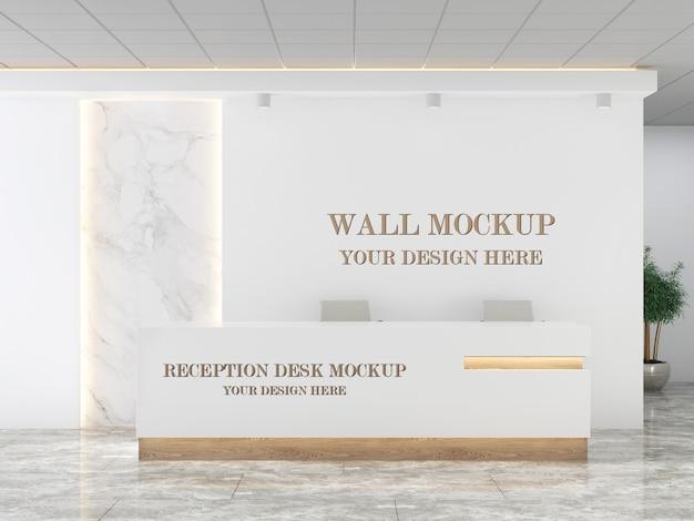Стойка регистрации и макет стены