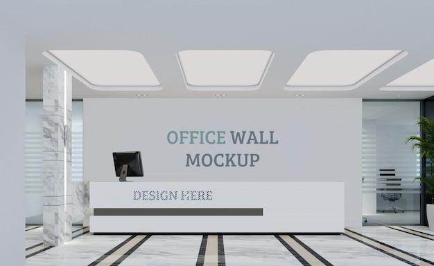 Front desk modern design. wall mockup