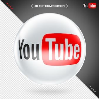 전면 타원 3d 흰색 빨간색과 검은 색 youtube 로고