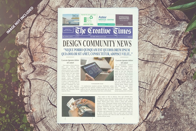Front page newspaper mockup