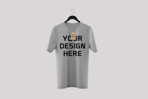 Front side t-shirt mockup design isolated