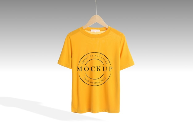 Front side yellow t-shirt mockup isolated