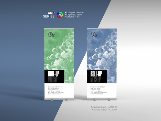 Front vie corporate roll up or banner design template