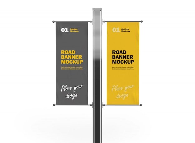 Front view of 3d vertical double road banners mockup