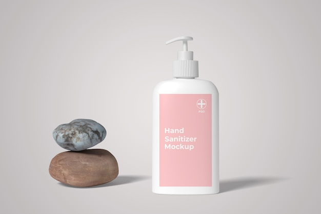 Front view angle of hand sanitizer with stone