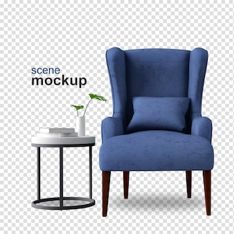 Front view of armchair in 3d rendering