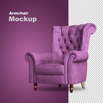 Front view of armchair in 3d rendering