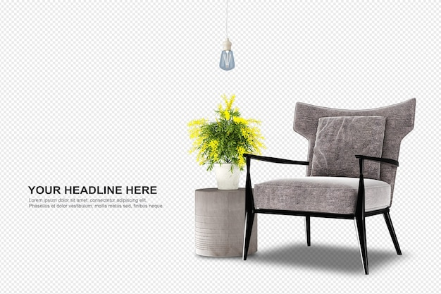 Front view of armchair and plant in 3d rendering
