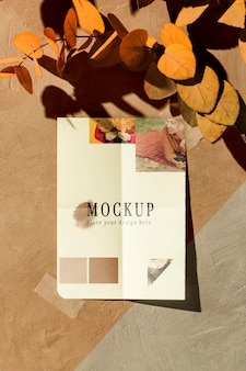 Vista frontale del mock-up moodboard autunnale