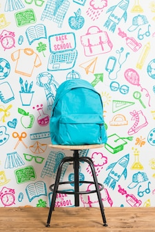 Front view backpack with colourful background