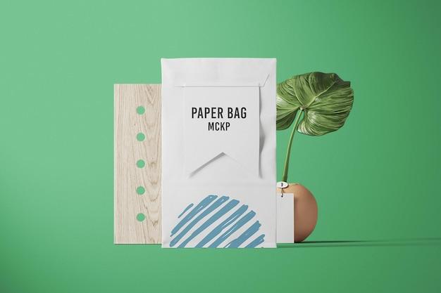 正面図のバッグ包装モックアップデザイン