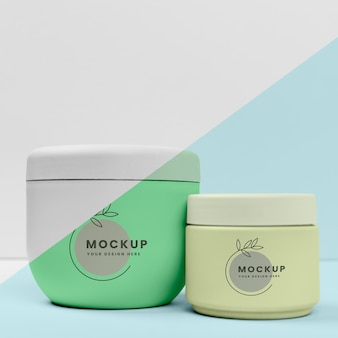 Front view of beauty creams bottles mock-up