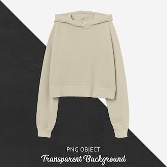 Front view of beige crop hoodie mockup