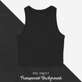 Front view of black basic crop top mockup