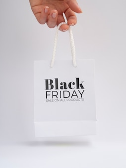 Front view of black friday concept on plain background