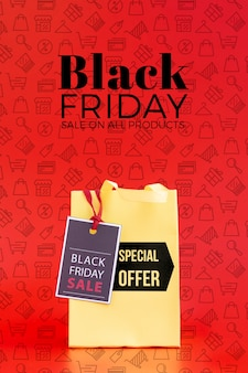 Front view of black friday concept on red background