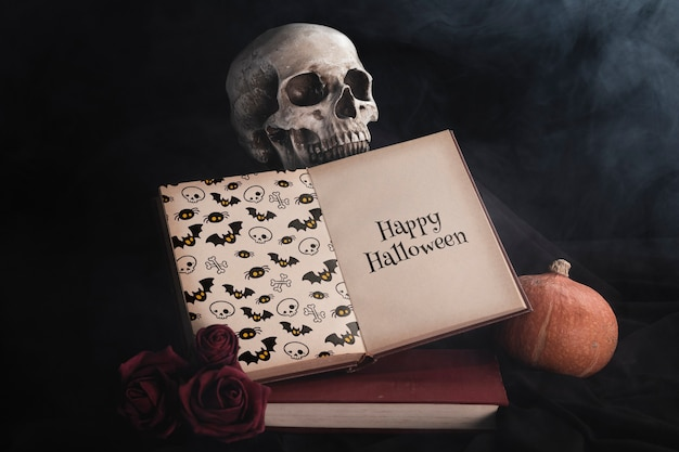 Front view of book and skull with black background