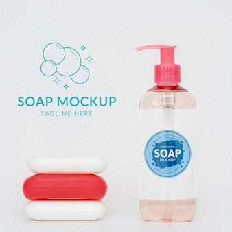 Front view of bottle of liquid soap and soap bars