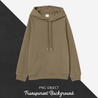 Front view of brown hoodie mockup