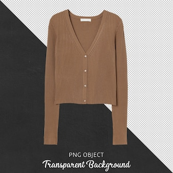 Front view of brown woman cardigan