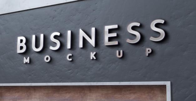 Vista frontale del design del segno di mockup di affari