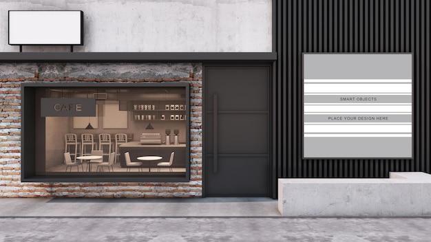 Front view cafe shop modern and loft restaurant design 3d render