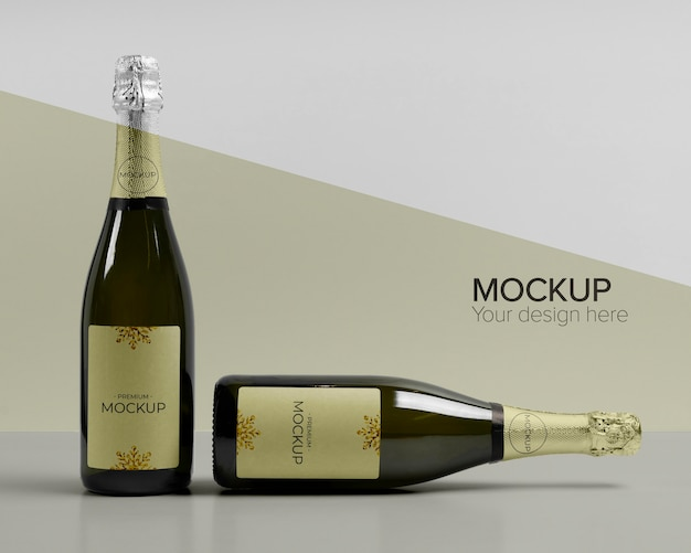 Front view champagne bottles mock-up