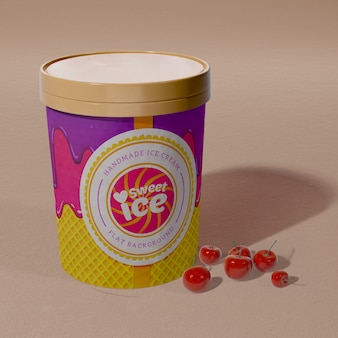Vista frontale del secchio di gelato al gusto di ciliegia
