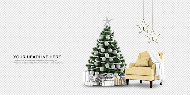 Front view of christmas tree and armchair in 3d rendering