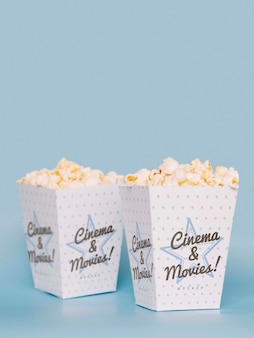 Front view of cinema popcorn with copy space